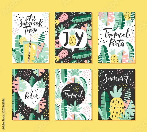Set of tropical summer cards with lettering. Vector illustration. - 205342086
