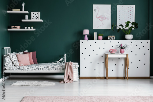 Pink and green bedroom interior - 205342657