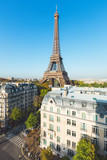 Eiffel tower with a perfect blue sky, Paris