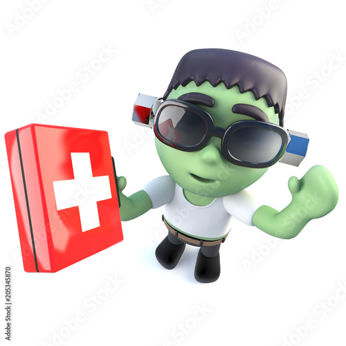 3d Funny cartoon frankenstein monster character holding a first aid kit