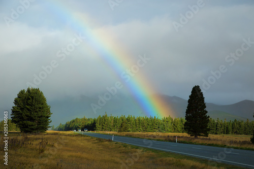 colorful raibow over the road in NZ