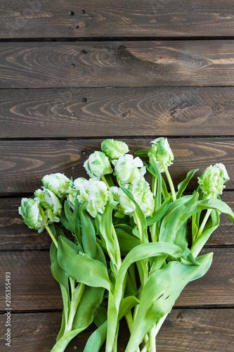 Fototapeta White tulips on wooden table. Isolated.