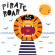 Hand drawn vector illustration of a cute funny lion pirate in a tricorn hat, with lettering quote Pirate roar. Isolated objects. Scandinavian style flat design. Concept for children print.