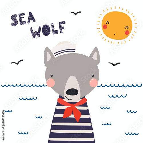 Fototapeta Hand drawn vector illustration of a cute funny wolf sailor in a cap and neckerchief, with lettering quote Sea wolf. Isolated objects. Scandinavian style flat design. Concept for children print.