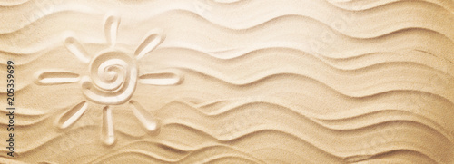 Sun on Sand on Beach Holiday Background - 205359699