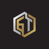 Initial letter GT, looping line, hexagon shape logo, silver gold color on black background