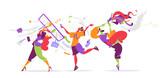 Persone eccentriche che usano dispositivi mobile in modo creativo - 205361825