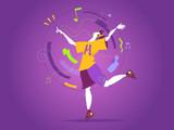 Un ragazzo balla al ritmo della musica del suo smartphone - 205361842