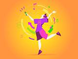 Un ragazzo balla al ritmo della musica del suo smartphone - 205361858