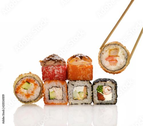 Plexiglas Sushi bar rolls on white background