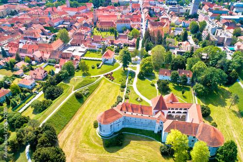 Fototapeta Town of Varazdin historic center and famous landmarks aerial view, northern Croatia