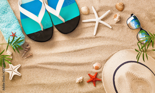 Fototapeta Sea Shells on Sand. Summer Beach Background