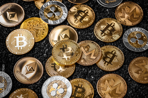 Stack of cryptocurrencies