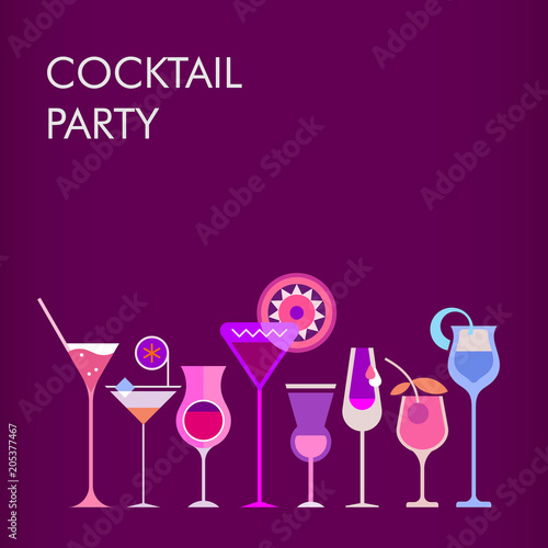 Fotobehang Abstractie Art Cocktail Party vector background