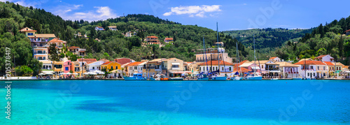 Fotobehang Freesurf Ionian islands of Greece- Paxos, with turquoise waters and pictorial village Lakka