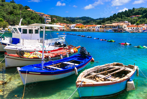 Fotobehang Freesurf Beautiful authentic Greece - pictorial bay with fishing boats in Paxos. Ionian islands