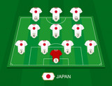 Soccer field with the Japan national team players. - 205379610