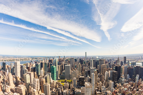 Foto Murales New York aerial view, cityscape from helicopter