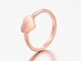 3D illustration rose gold engagement wedding heart ring - 205385238