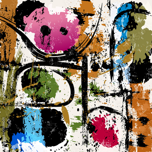 Fotobehang Abstract met Penseelstreken abstract background composition, with paint strokes and splashes, grungy