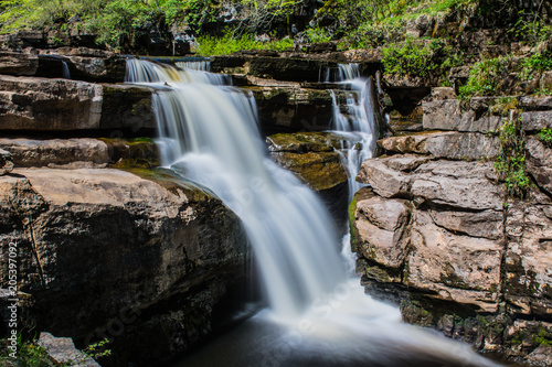 Fotobehang Zwart Lower Kisdon falls, Swaledale in Yorkshire.