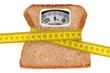 Concept de pèse-personne avec une tranche de pain de mie