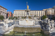 Quadro City Hall Square with the famous Neptune fountain on Piazza Municipio in Naples, Italy.