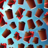 Coffee Ripple Cups With Red Ribbons on a Blue Sky Background