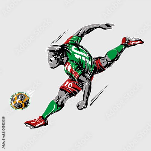 Fototapeta Soccer player power kick.