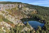Mountain landscape with Laguna Negra and pine forest, Soria province in Spain