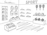 Sport shop store graphic interior black white sketch illustration vector - 205403644