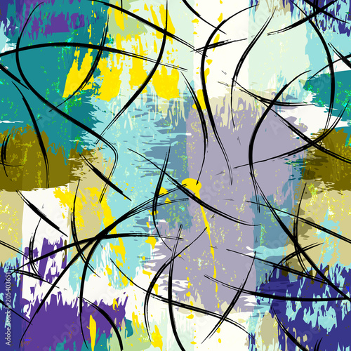 Fotobehang Abstract met Penseelstreken seamless abstract art pattern, with paint strokes and splashes