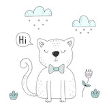 Hand Drawn cute Funny Cartoon vector cat print