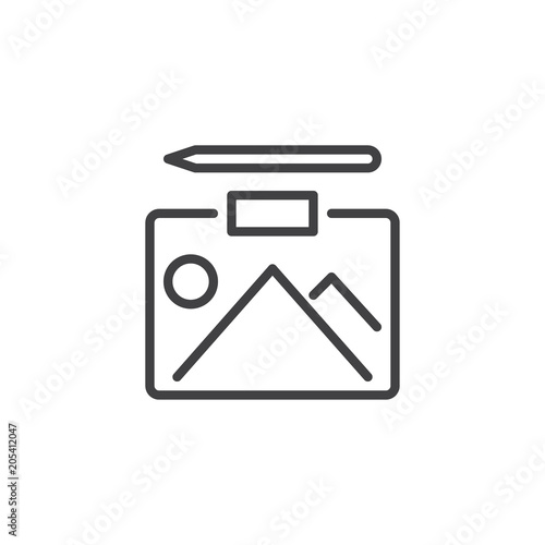 Fotobehang Wit Landscape picture and pencil outline icon. linear style sign for mobile concept and web design. Nature image simple line vector icon. Symbol, logo illustration. Pixel perfect vector graphics