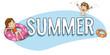 Niños de vacaciones, verano en la piscina