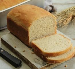 Homemade bread loaf sliced, selective focus
