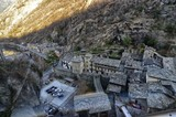 Forte di Bard, Valle d'Aosta region Italy, December 2016. View from the panoramic elevator leading to the top of the fort. This place was chosen in 2014 to shoot a film of adventure, action, fantasy.