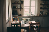 cozy cabin interior. Country grey kitchen with open shelfin in rustic style. Rural life concept - 205432253