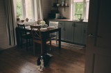 cozy cabin interior. Country grey kitchen with open shelfin in rustic style. Rural life concept - 205432268