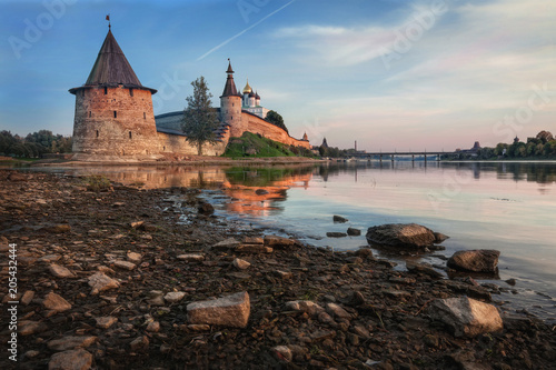 Beautiful evening at the Pskov Kremlin