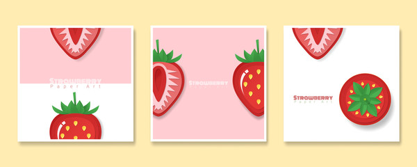 Set of fruit banners with strawberry in paper art style , vector , illustration © littleartvector