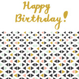 Happy Birthday greeting card with lettering and geometrical ornament with triangles isolated on white background. Vector illustration. - 205438219