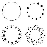Set of abstract halftone black dotted round frames isolated on white background. Vector illustration. - 205438240