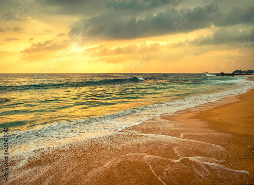 Beautiful Tropical Sea view under sunset sky at Sri Lankain beach