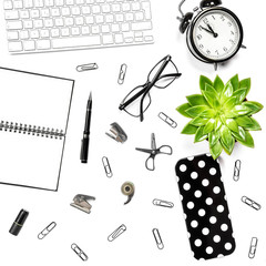 Office table Flat lay Keyboard notebook supplies clock succulent