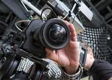 tv camera in a studio - 205446870