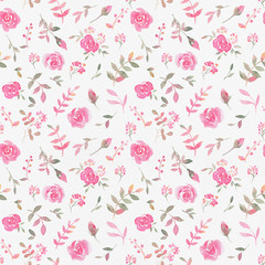 Hand drawn seamless pattern with watercolor rose flowers.