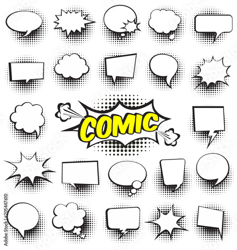 Big Set of Cartoon,Comic Speech Bubbles, Empty Dialog Clouds with Halftone Dot Background in Pop Art Style. Vector Illustration for Comics Book , Social Media Banners, Promotional Material © Wink Images