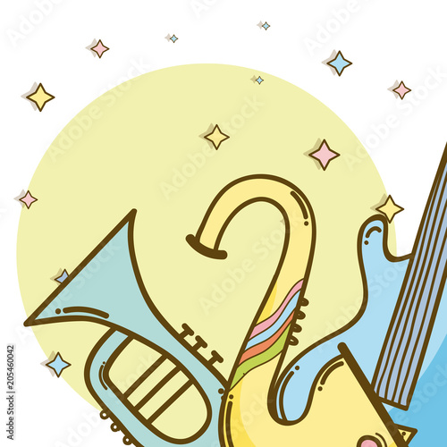 Fotobehang Muziek Music instrument cartoons