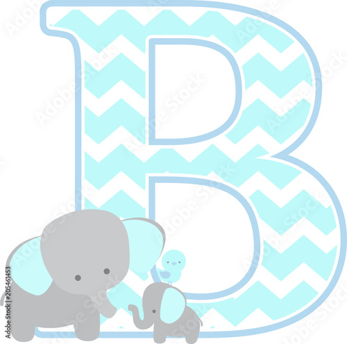 initial b with cute elephant and little baby elephant isolated on white. can be used for father's day card, baby boy birth announcements, nursery decoration, party theme or birthday invitation